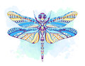 Patterned dragonfly on the grunge background Royalty Free Stock Photo