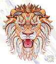 Patterned head of the roaring lion Royalty Free Stock Photo