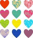 Patterned hearts Royalty Free Stock Photos