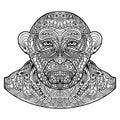 Patterned monkey head isolated on white background. Royalty Free Stock Photo