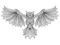 Patterned Owl Coloring Page