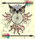 Patterned owl on the grunge background. African indian totem tattoo design.