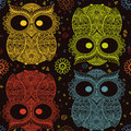 Patterned owl on the grunge background. African / indian / totem / tattoo design. It may be used for design of a t-shirt