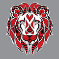 Patterned red head of the lion on the grey background. African / indian / totem / tattoo design. It may be used for design of a t- Royalty Free Stock Photo