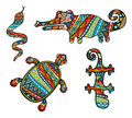 Patterned reptiles set of silhouettes of turtle snake lizard and crocodile ornate wilds with ethnic abstract pattern colorful Royalty Free Stock Photo
