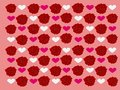 Patterns of beautiful red roses with pink background and white and pink love hearts