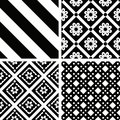 Patterns black and white seamless set Royalty Free Stock Images