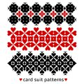 Patterns with card suits suit for gamble theme decoration black and red elements combined in fancy ornaments Stock Images