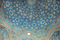 Patterns of ceramic tile of the blue ceiling of the historic mosque in Iran Royalty Free Stock Photo
