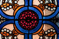 Patterns in Church Stained Glass Window Royalty Free Stock Photo