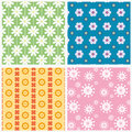 Patterns with flowers four seamless Royalty Free Stock Photography