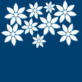Patterns flowers out paper blue background Royalty Free Stock Photography