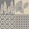 Patterns in grey and beige four seamless geometrics leaves Stock Photo