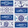 Patterns with nautical symbols and marine knots seampless Royalty Free Stock Images