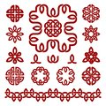 Patterns and parts of Celtic knots. Vector set