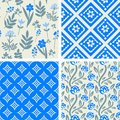 Patterns set blue and grey seamless Stock Images