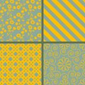 Patterns set blue and yellow seamless Royalty Free Stock Image
