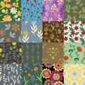 Patterns set patchwork of decorative seamless floral Royalty Free Stock Image
