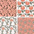 Patterns set with pink flowers Stock Image