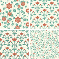 Patterns set of seamless floral in red and green Royalty Free Stock Images