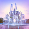Patuxai arch or victory triumph gate monument with fountain in front vientiane laos sunset view of travel landscape and Royalty Free Stock Image