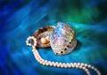 Paua shell and pearl ornaments Royalty Free Stock Photo