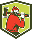 Paul bunyan lumberjack carrying axe illustration of a sawyer forest worker an set inside shield crest shape done in retro style on Royalty Free Stock Image