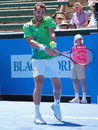 Paul henri mathieu backhand melbourne australia january of france at an exhibition and practice match at kooyong tennis club Royalty Free Stock Photo