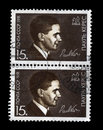 Paul keres famous soviet estonian chess player chess figures bishop and knight circa ussr cancelled stamp printed in ussr shows Royalty Free Stock Photography