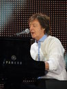 Paul mccartney live in vienna june th sir aged plays the piano during a performance of the tour out there held at the ernst happel Royalty Free Stock Images
