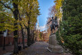 Paul Revere Statue and Old North Church - Boston, Massachusetts, USA Royalty Free Stock Photo