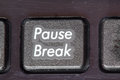 Pause break closeup on a keypad time to rest of computer with the words and Royalty Free Stock Images