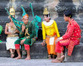 Pause after dance angkor temples in cambodia are visited by millions persons each year here traditional dancers take a between two Royalty Free Stock Photography