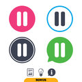 Pause sign icon. Player navigation button.