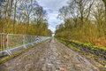 Pave d arenberg image of the famous cobblestone road from the forest of every year it is part of the route of paris Stock Photo