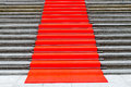 Pave in red carpet stairs Royalty Free Stock Photo