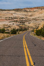 Paved highway in the canyon and Mesa country of Southern Utah Royalty Free Stock Photo