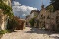 Paved street in Vaison-la-Romaine village, Provence Royalty Free Stock Photo