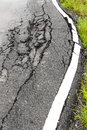 Paved surface to collapse from the weight of the truck with water Stock Image