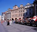 Pavement cafes prague tourists and in the old town square czech republic central europe Stock Image