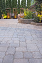 Paver Patio Garden and Landscaping Lights Royalty Free Stock Photo