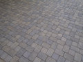 Pavers at angle driveway viewed from an across the surface Stock Image