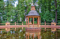 The pavilion at the Managerial pond at the Letniy Summer garden. Royalty Free Stock Photo