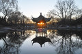 A pavilion in the park morning chinese Stock Photography