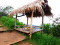 A pavillion small made from bamboo stretcher and nipa leaves roof Royalty Free Stock Photos