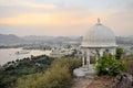 Pavillon with Udaipur city palace at Pichola lake Royalty Free Stock Photo