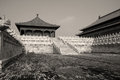 Pavillons of the forbidden city black and white photo one main palace in beijing Stock Image