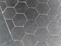 Paving hexagon brick walkway the pattern of stone block paving barcelona spain Royalty Free Stock Images