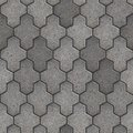 Paving slabs seamless tileable texture gray consisting of combined hexagons Stock Photography
