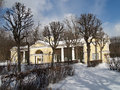 Pavlovsk. Pavilion Open-air cage (Hen house) in winter park Royalty Free Stock Photo